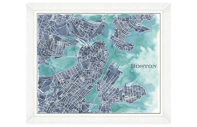 Watercolor Navy Boston Map