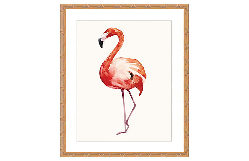Watercolor Flamingo Print II