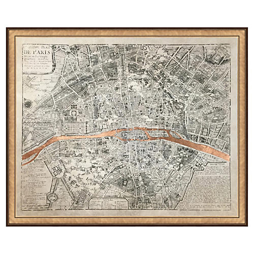 Real Rose Gold Leaf Paris Map