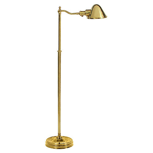 Hayward Floor Lamp, Natural Brass