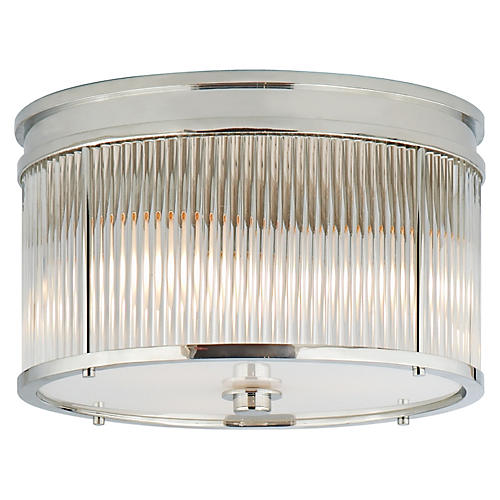 Allen Flush Mount, Polished Nickel