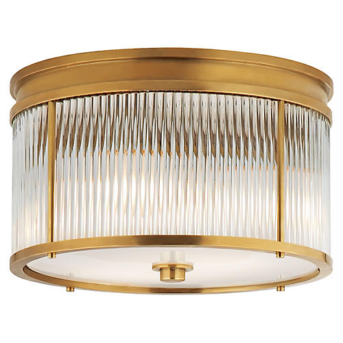 Allen Medium Flush Mount, Brass/Clear/White