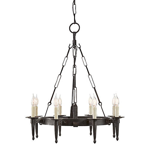 Branson Small One-Tier Chandelier, Aged Iron