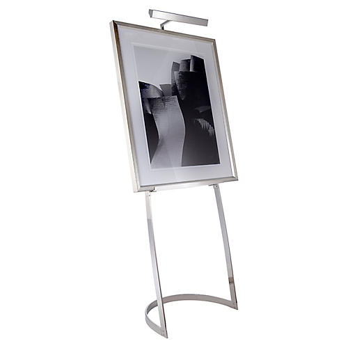 Colin Easel Floor Lamp, Polished Nickel