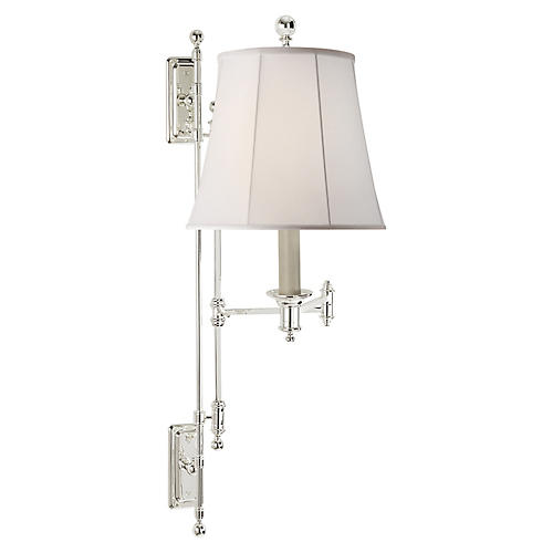Kerry Swing-Arm Sconce, Polished Silver