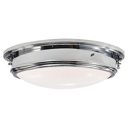 Marine Large Flush Mount, Polished Nickel