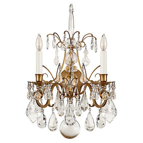 Antoinette 2-Light Sconce, Brass/Crystal