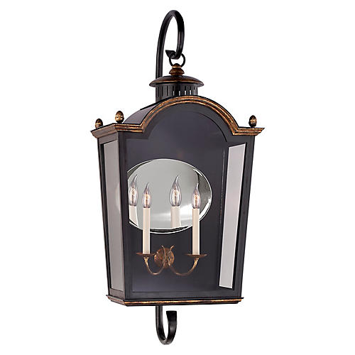 Brinkley Large Bracketed Sconce, Black/Mirror
