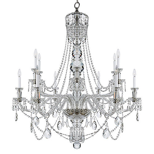 Daniela Two-Tier Wide Chandelier, Crystal