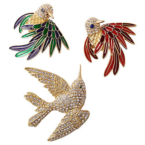 Asst. of 3 Jeweled Bird Wreath Clips