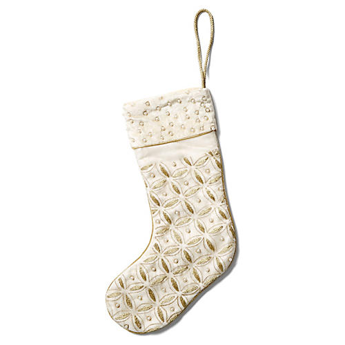 "14"" Diamond Pearl Stocking, Gold"