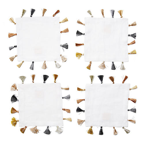 S/4 Cocktail Napkins w/Tassels, White