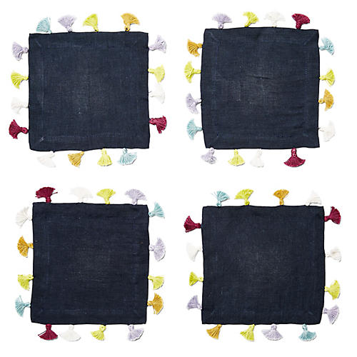 S/4 Tassel Cocktail Napkins, Navy/Multi