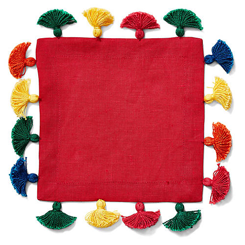 S/4 Tassel Cocktail Napkins, Red/Multi