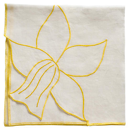 S/2 Daffodil Dinner Napkins, Cream/Yellow