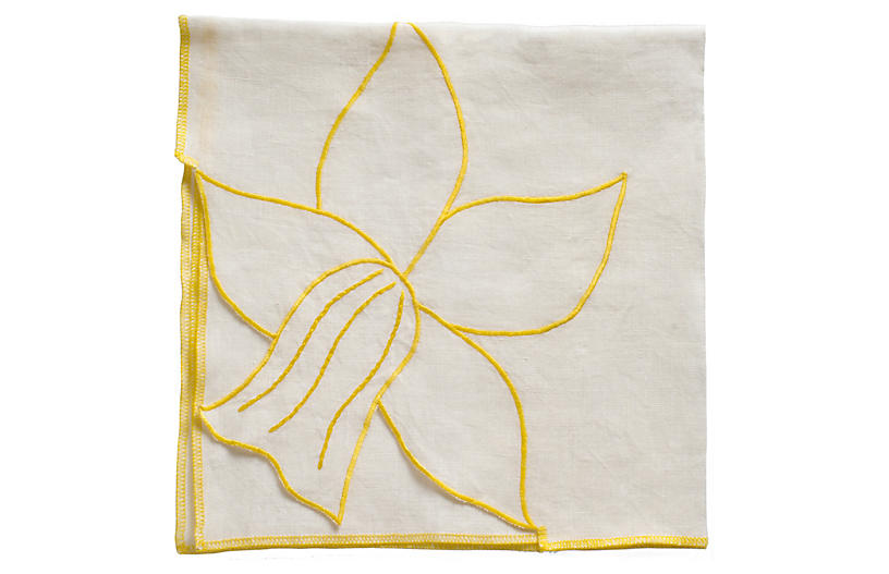 S/2 Daffodil Dinner Napkins, Cream/Yellow