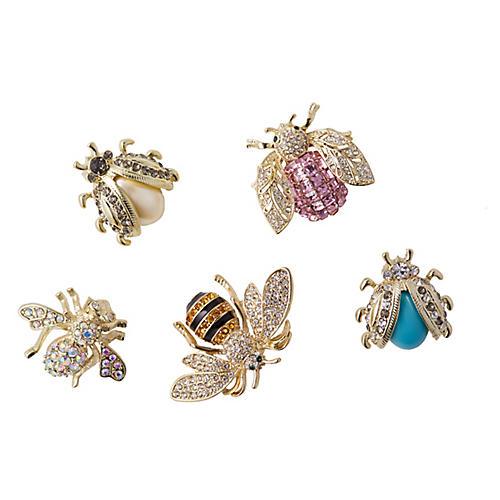 Asst. of 5 Mini-Bug Clip Ornaments, Pink/Multi