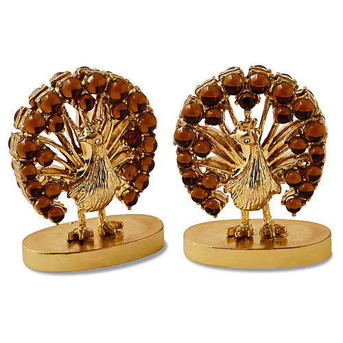 S/2 Turkey Place-Card Holders, Smoke Topaz/Gold