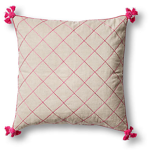 Tassel Quilted 20x20 Pillow, Pink/Natural Linen