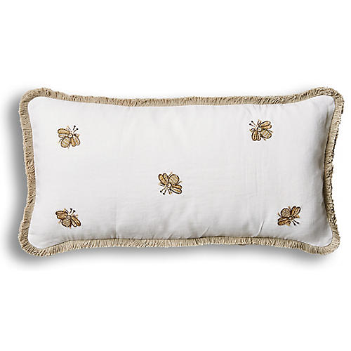 Embroidered Bee Fringe 10x20 Pillow, White Velvet