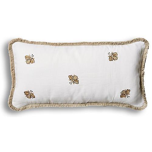Embroidered Bee Fringe 10x20 Pillow, White Velvet