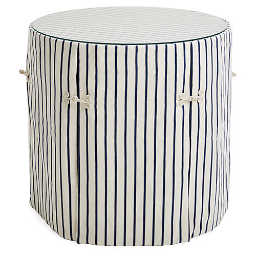 Eden Round Skirted Table, Navy Stripe