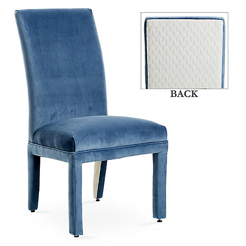 Monroe Side Chair, Harbor Blue/Ivory