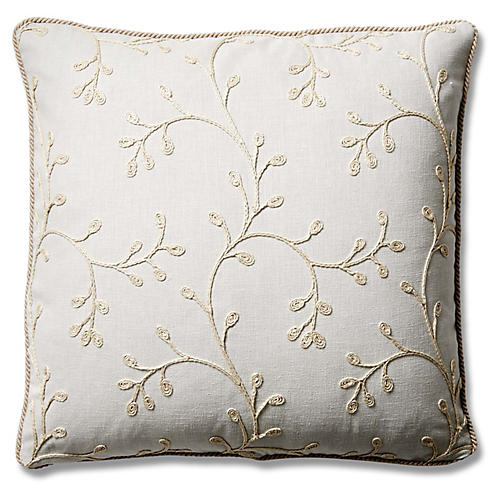 Esme 19x19 Cotton Pillow, Snowdrop