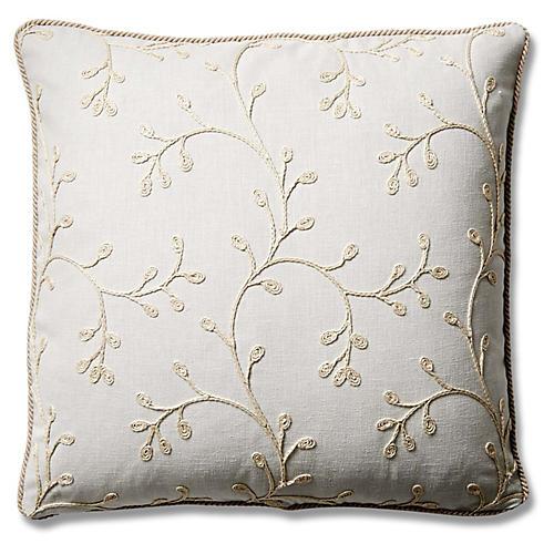 Esme 19x19 Cotton Pillow, Snowdrop