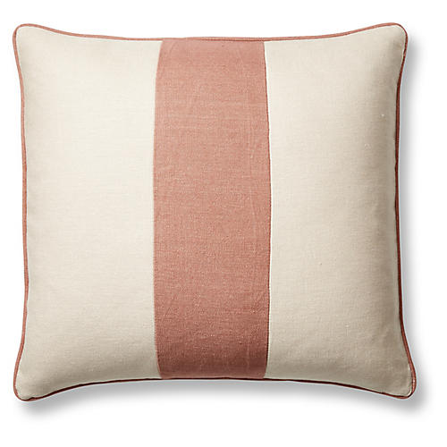 Blakely 20x20 Pillow, Rose/Sand Linen