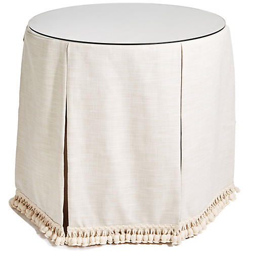 Eden Round Skirted Table, Cream