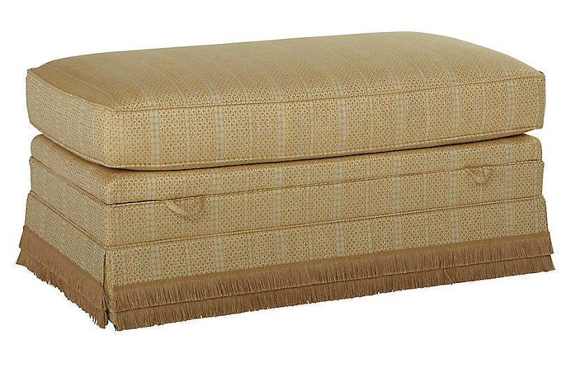 Heath Skirted Storage Ottoman, Marigold/Beige