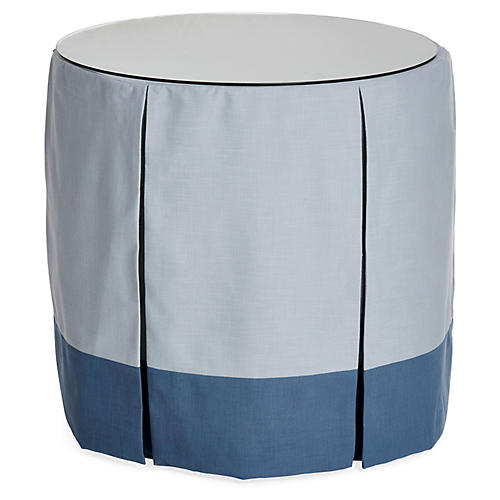 Eden Round Skirted Table, Blue/Indigo