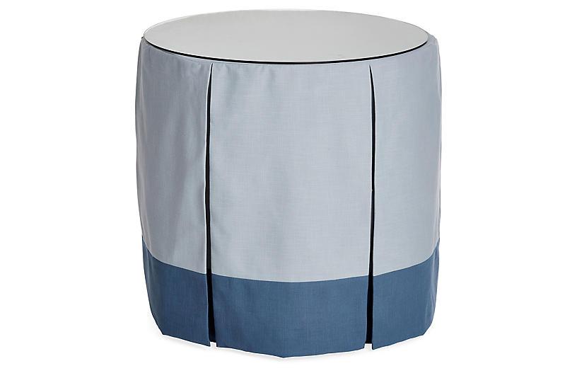 Eden Round Skirted Table, Blue/Indigo