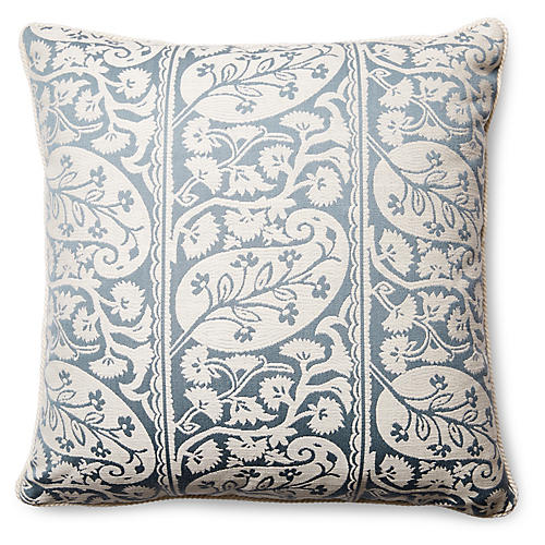 Koyari 20x20 Pillow, Blue-Gray/Ivory