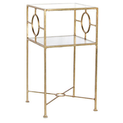 Ellis Glass-Top Side Table, Gold