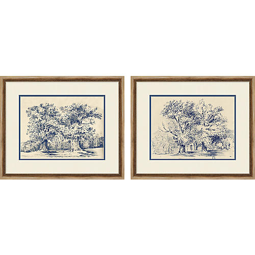 Navy Tree Diptych