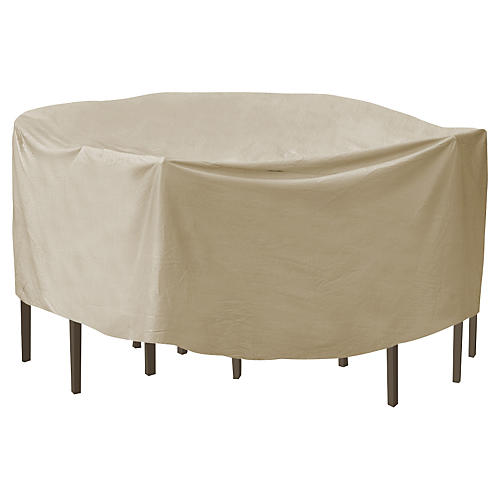 "108"" Round Table and Chair Cover, Tan"