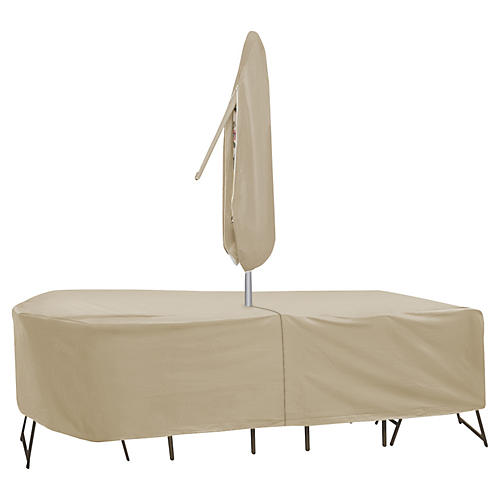 Rectangular Table and Chair Cover, Tan