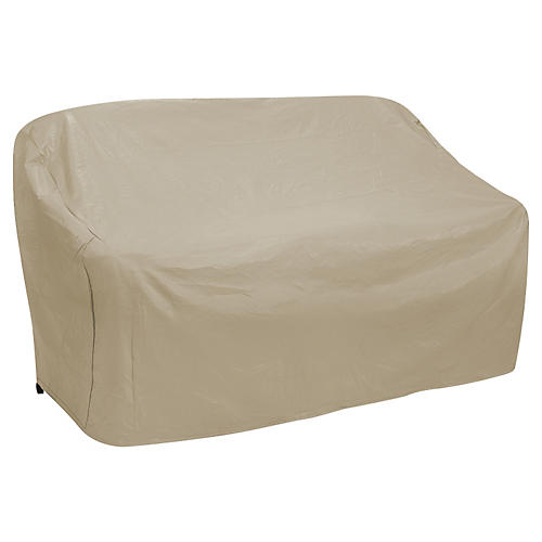 "87"" Oversize Three-Seat Sofa Cover, Tan"