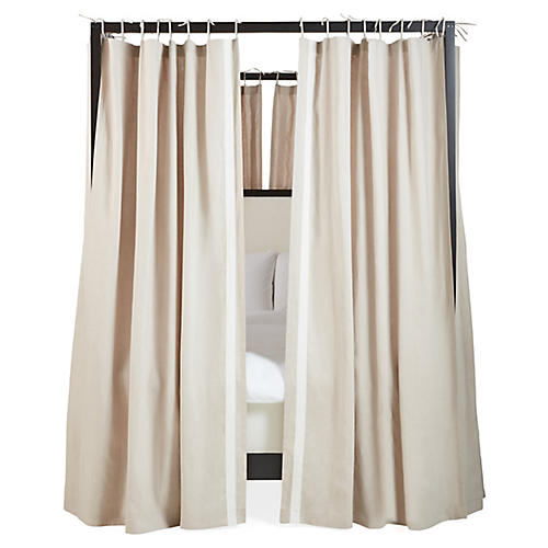 S/8 Bridget Canopy Bed Curtains, Oatmeal/Ivory
