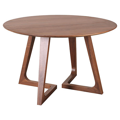 "Minerva 47"" Round Modern Dining Table, Walnut"
