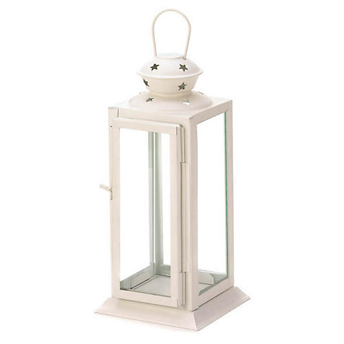 "8"" Tall Candle Lantern, Beige"