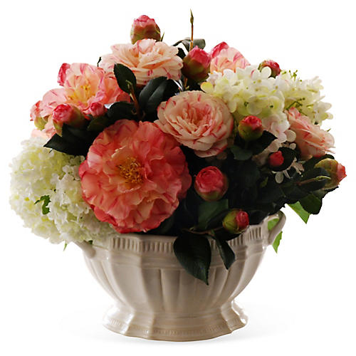 14'' Camellia & Snowball in Vase, Faux