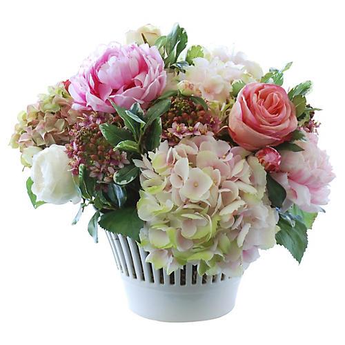 """18"""" Hydrangea & Rose in Vase, Faux"""