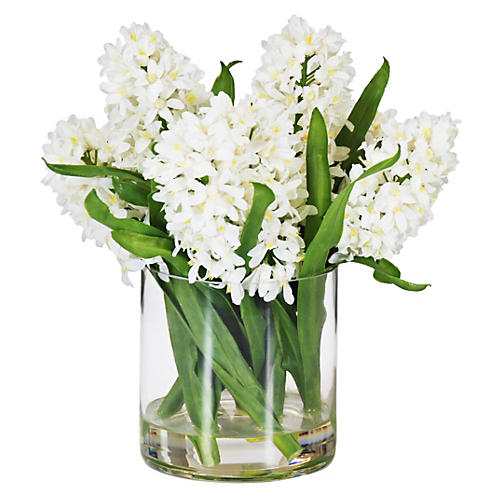 "13.5"" Hyacinth Arrangement in Vase, Faux"