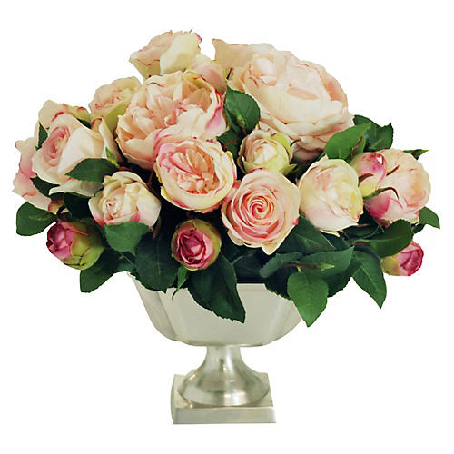 "13"" English Rose Arrangement, Faux"