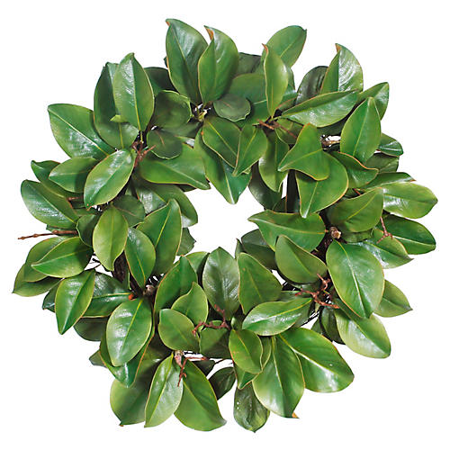 "22"" Magnolia Leaf Faux Wreath, Green"