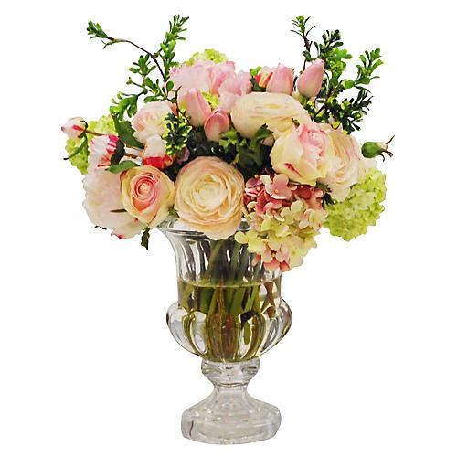"""15"""" Mixed Floral Lotus Arrangement, Faux"""