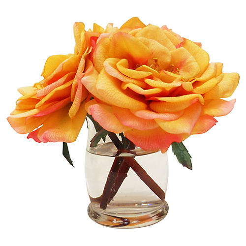 "7"" Roses in Hourglass Vase, Orange"
